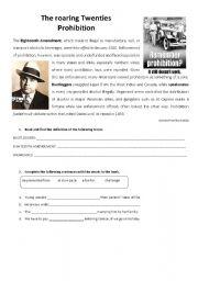 English Worksheet: Prohibition (1920s)