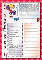English Worksheet: MY NAME IS KATE-READING, WRITING, PERSONAL INFORMATION-FULLY EDITABLE-KEY INCLUDED