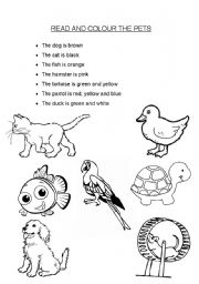 English Worksheets: Read and Colour the Pets
