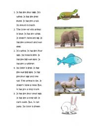 English Worksheets: A reading about animals with matching activity for young learners
