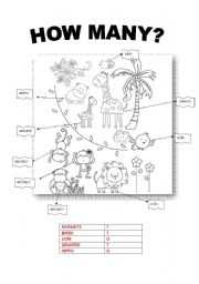 English Worksheet: How many animals in the jungle???