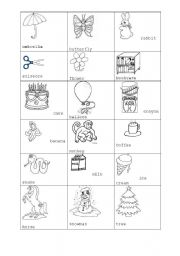 English Worksheets: First cliparts and coloring pages for kids