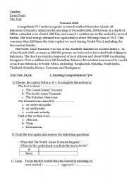 English Worksheet: Exam topic  Tsunami 2004