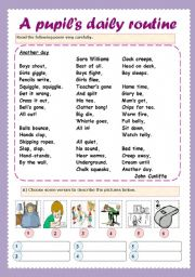 English Worksheets: A poem about a pupil�s daily routine (key included)