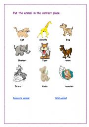 english worksheets wild and domestic animals. Black Bedroom Furniture Sets. Home Design Ideas