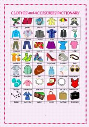English Worksheet: Clothes and Accessories Pictionary