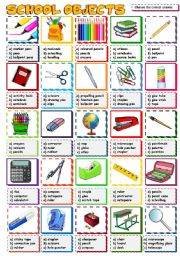 English Worksheet: SCHOOL OBJECTS - multiple choice (B&W included)