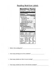 Worksheet Nutrition Label Worksheet english worksheet reading nutrition labels 1