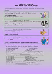 English Worksheets: Relative pronouns (who, which, whose, where, that) rules & exercises