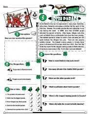 English Worksheet: RC Series_Level 01_Irish Edition_05 Irish Parade (Fully Editable + Key)