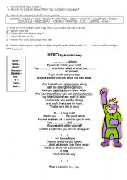 English Worksheet: Heroes Part 1