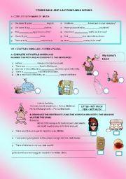 English Worksheet: MANY, MUCH, FEW, LITTLE (explanation + exercises + vocabulary)