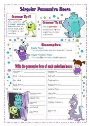 Worksheets Singular Possessive Nouns Worksheets english teaching worksheets possessive nouns singular nouns