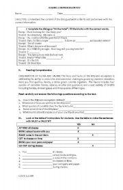 English Worksheets: Reading comprehension mini test