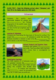 English Worksheets: Volcanoes - Cloze Text