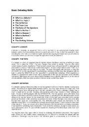 English Worksheets: basic debating skill