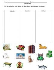 English Worksheets: classification: animals, buildings, furniture