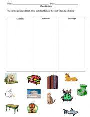 english worksheets classification animals buildings furniture. Black Bedroom Furniture Sets. Home Design Ideas
