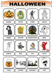 English Worksheet: Halloween Vocabulary