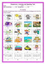 English Worksheet: Listening and speaking test