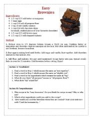 English Worksheet: Easy Brownies Recipe - Comprehension