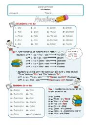 English Worksheet: 1-100 numbers
