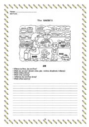 English Worksheets: The bakery (writing)