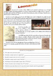 English Worksheets: Leonardo - Reading Comprehension