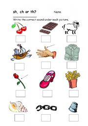 English Worksheets: Blends sh, ch, th