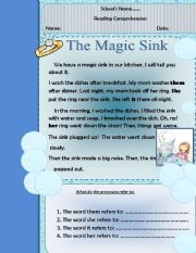 English Worksheets: THE MAGIC SINK
