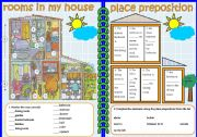 English Worksheets: Rooms in the house and place prepositions