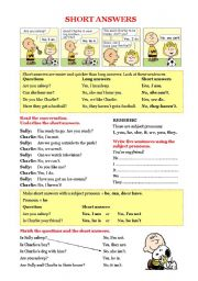 English Worksheet: Grammar - Short answers