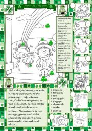 English Worksheet: St. Patrick´s Day coloring!