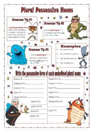 English Worksheet: Plural Possessive Nouns