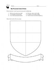 picture regarding Coat of Arms Template Printable Free named My Unique Coat of Palms - ESL worksheet by way of bbadberg