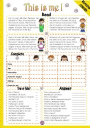 English Worksheet: THIS IS ME! - READING