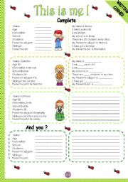 English Worksheet: THIS IS ME! - WRITING