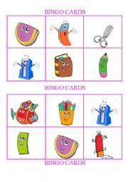 English Worksheet: School Objects -Bingo Cards Set 1