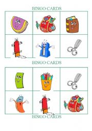 English Worksheet: School Objects - Bingo Cards Set 2