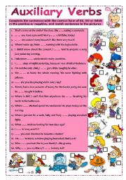 English Worksheet: Auxiliary Verbs (+keys)