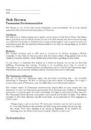 English Worksheets: Bob Brown - Tasmanian Environmentalist