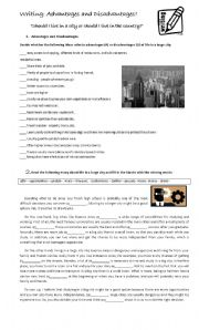 English Worksheet: Advantages and disadvantages of living in a large city