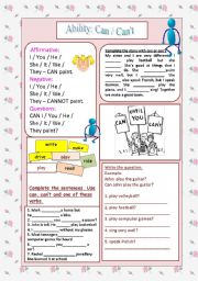 English Worksheets: Can / Can�t - Expressing Ability