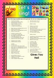 English Worksheet: GLEE SERIES � SONGS FOR CLASS! S01E14 � FOUR SONGS � FULLY EDITABLE WITH KEY!