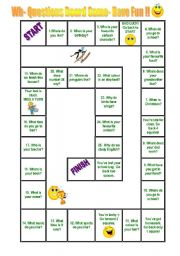 English Worksheet: wh questions game board