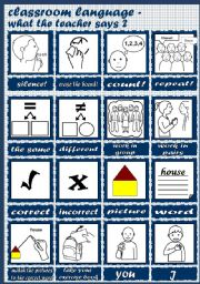English Worksheet: Classroom Language - What the teacher says part 2