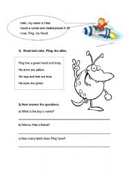 English Worksheets: Ping, The Alien