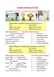 English Worksheet: Grammar - Demonstratives: THIS / THESE / THAT / THOSE
