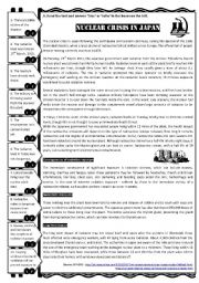 English Worksheet: Nuclear crisis in Japan - reading / video WS