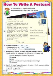 English Worksheet: How to write a Postcard   -   Pre/while/after- Writing Activities